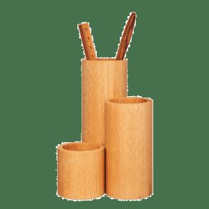 Pot à crayons triple case en bois