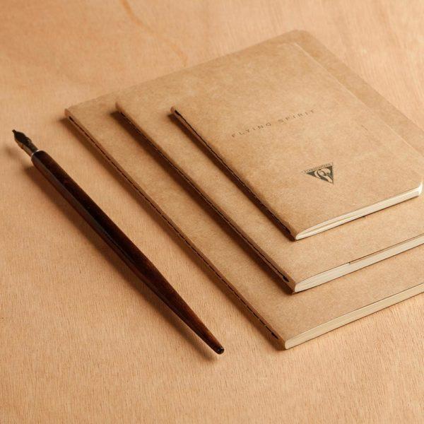Carnet kraft cousu, papier ivoire, Clairefontaine