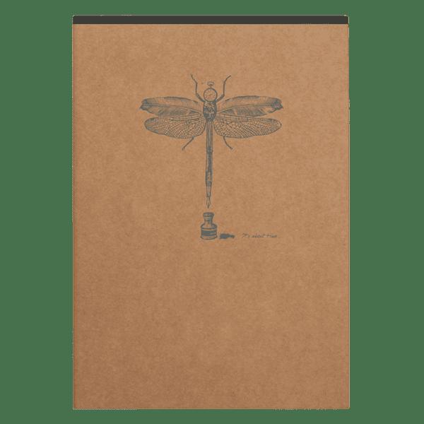 Bloc-notes en papier ivoire avec motif au dos, libélule