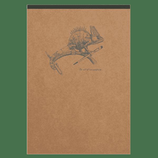 Bloc-notes en papier ivoire avec motif au dos, Caméléon