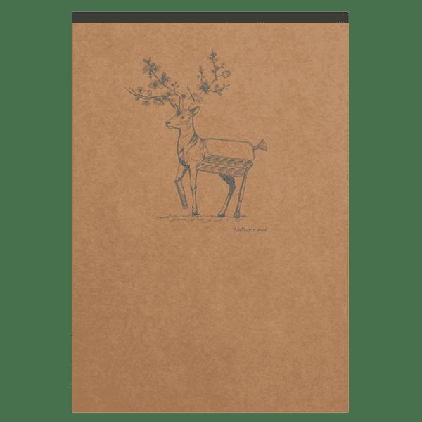 Bloc-notes en papier ivoire avec motif au dos, cerf