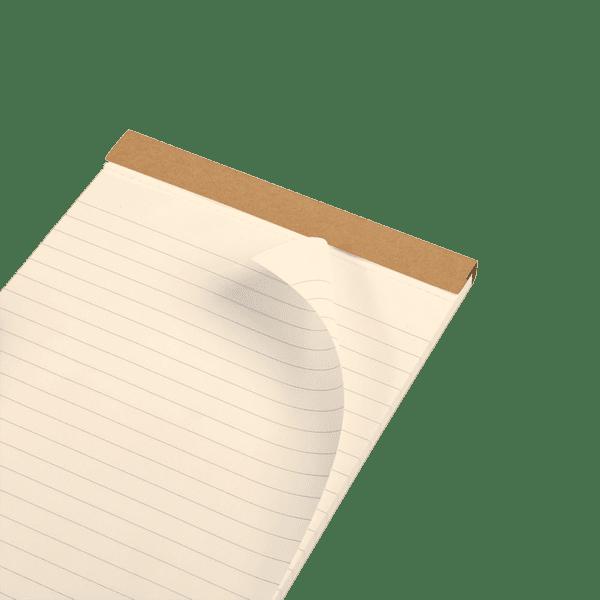 Bloc-notes en papier ivoire avec motif au dos, zoom papier