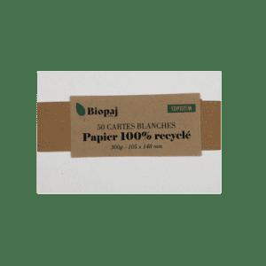 50 cartes blanches Papier recyclé