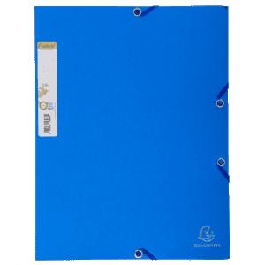 Chemise carte 100% recyclée 380g à élastiques bleue