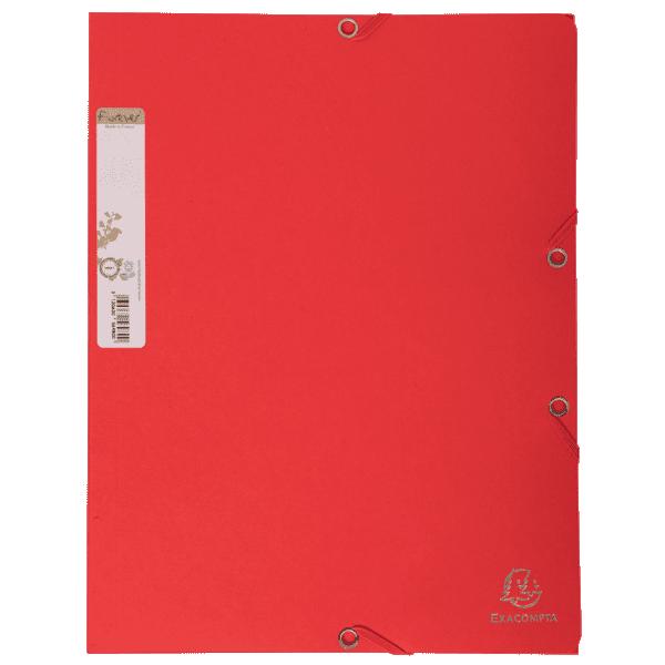 Chemise carte 100% recyclée 380g à élastiques rouge
