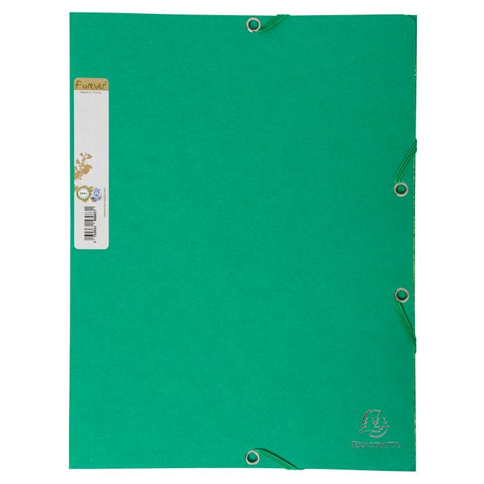 Chemise carte 100% recyclée 380g à élastiques verte