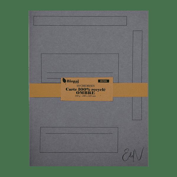 Paquet 10 chemises 240 x 320 mm carte ombre (grise)