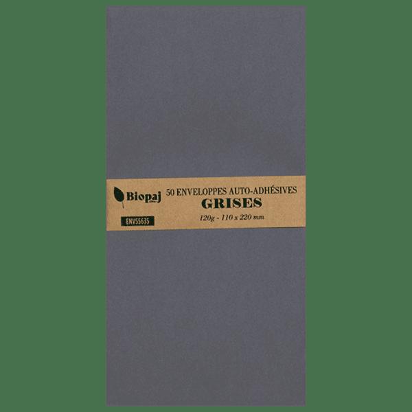 50 enveloppes grises 110 x 220 mm