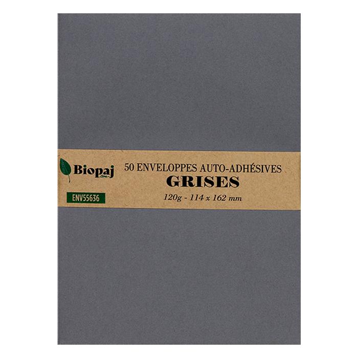 50 enveloppes grises 114 x 162 mm