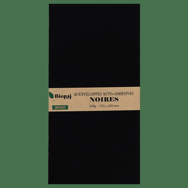 50 enveloppes noires 110 x 220 mm